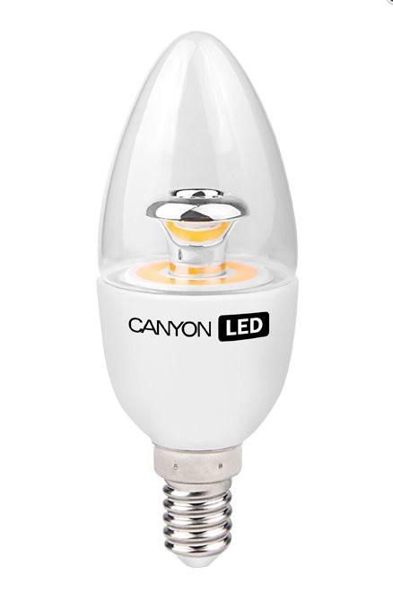 LED žiarovky CanyonLEDCOBžiarovka, E14, sviečka, priehľadná, 6W, teplá biela
