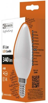 LED žiarovky LED žárovka RS-LINE CANDLE 4W E14 neutrální bílá