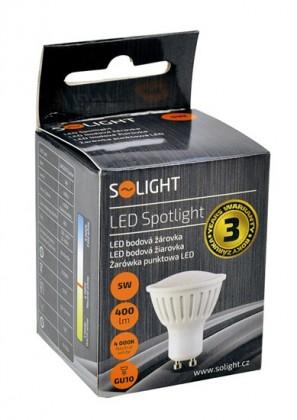 LED žiarovky Solight LED žiarovka, bodová, 5W, GU10, 4000K, 400lm, biela