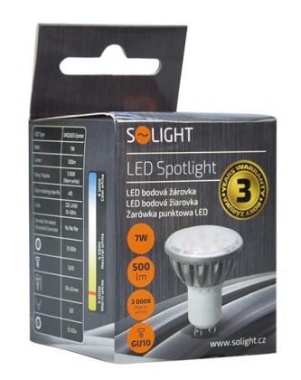 LED žiarovky Solight LED žiarovka, bodová, 7W, GU10, 3000K, 500L, strieborná