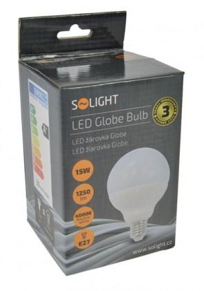 LED žiarovky Solight LED žiarovka, Globe, 15W, E27, 4000K, 270 °, 1250lm