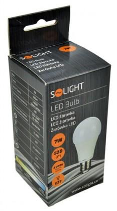 LED žiarovky Solight LED žiarovka,klasický tvar,7W,E27,3000K,270°520lm WZ504
