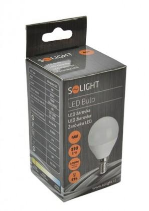 LED žiarovky Solight LED žiarovka, miniglobe, 4W, E14,3000K, 310L, biela