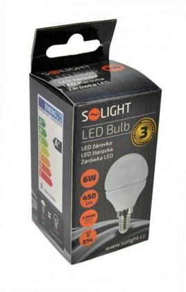 LED žiarovky Solight LED žiarovka, miniglobe, 6W, E14,3000K, 420L, biela