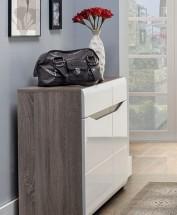 Leone - Komoda 90x85x41 cm (dub trufel, biela lesk)