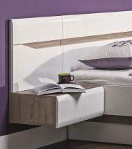 Leone - Nočný stolík závesný, ľavý (dub trufel, biela lesk)