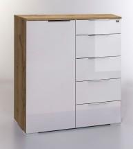 LevelUp D - Kombi komoda, 5x zásuvka, 1x dveře (biela VL, dub)