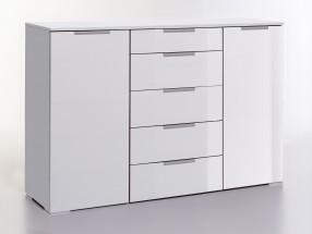 LevelUp D - Kombi komoda, 5x zásuvka, 2x dveře (biela VL, biela)