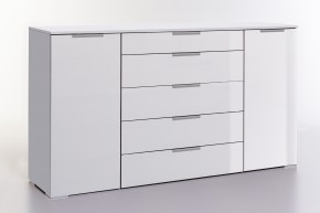 LevelUp D - Kombi komoda, 5x zásuvka + 2x dvere (biela VL/biela)