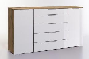 LevelUp D - Kombi komoda, 5x zásuvka, 2x dveře (biela VL, dub)