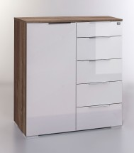 LevelUp D - Kombi komoda, 5xzásuvka, 1xdveře (bielaVL,dub muddy)