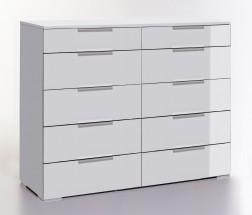 LevelUp D - Komoda, 10x zásuvka (biela VL, biela)