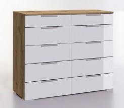 LevelUp D - Komoda, 10x zásuvka (biela VL, dub planked)