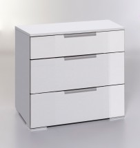 LevelUp D - Komoda, 3x zásuvka (biela VL, biela)