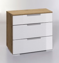 LevelUp D - Komoda, 3x zásuvka (biela VL, dub planked)