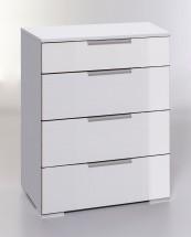LevelUp D - Komoda, 4x zásuvka (biela VL, biela)