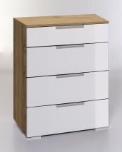 LevelUp D - Komoda, 4x zásuvka (biela VL, dub planked)