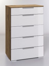 LevelUp D - Komoda, 5x zásuvka (biela VL, dub planked)
