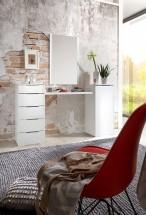 LevelUp D - Toaletý stolík, zrkadlo, 5x zásuvka (bielaVL,biela)