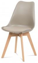 Lina - Jedálenská stolička latté, plast + eko kože