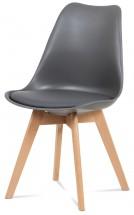 Lina - Jedálenská stolička šedá, plast + eko kože