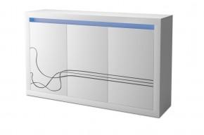 Lino - Komoda, trojdverová, LED osvetlenie (biela)