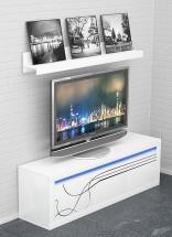 Lino - Nízka TV komoda, závesná polica, LED osvetlenie (biela)