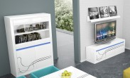 Lino - Obývacia zostava, police, nízka komoda, vitrína (biela)