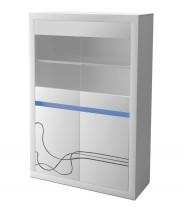 Lino - Vitrína, presklená, LED osvetlenie (biela)