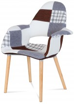 Lis - Jedálenská stolička s podrúčkami (patchwork/natural)