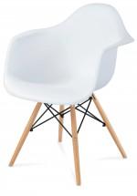 Lisa - Jedálenská stolička s podrúčkami (plast biely/masív buk)
