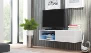 Livo - TV stolík 120 závesný (bílá mat/bílá lesk)