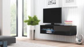 Livo - TV stolík 120 závesný (černá mat/černá lesk)