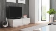 Livo - TV stolík 160 stojace (biela mat / biela lesk)