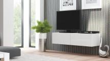Livo - TV stolík 160 závesný (bílá mat/bílá lesk)