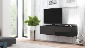 Livo - TV stolík 160 závesný (černá mat/černá lesk)