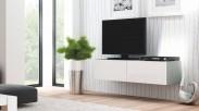 Livo - TV stolík 160 závesný (šedá mat/bílá lesk)