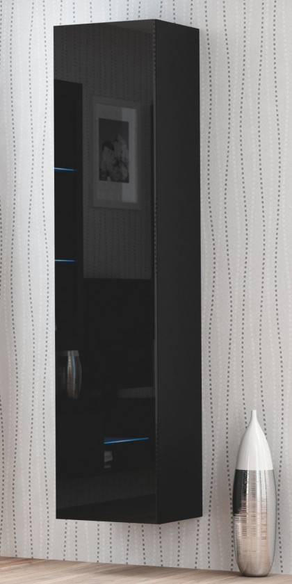 Livo - Závesná skrinka 180 (černá mat/černá lesk)