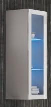Livo - Závesná vitrína 120 (bílá mat/bílá lesk)