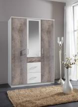 Loop - Skriňa, klasické dvere + zrkadlo (alpská biela, betón)