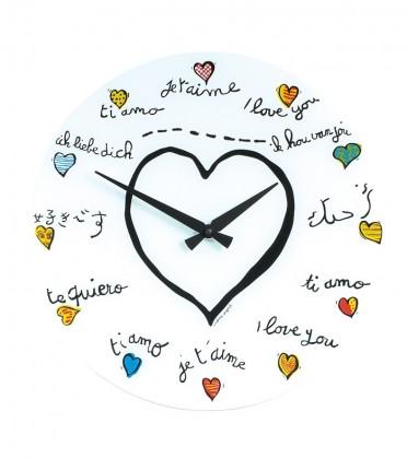 Loving you - hodiny, nástenné, guľaté (sklo, biele)