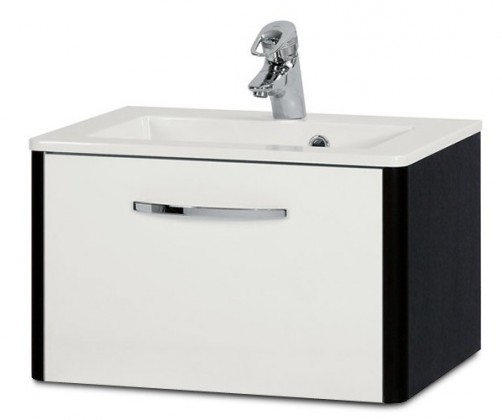 Lucy - Skrinka SU 270 s umývadlom 60cm (biela lesk/wenge)