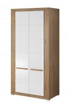 Lumi - obývačková skriňa, 2 dvere (dub beaufort, biely lesk)