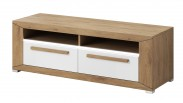 Lumi - TV stolík, 2 zásuvky (dub beaufort, biely lesk)