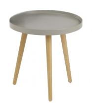 Malaga - Konferenčný stolík kruhový, drevené nohy (béžová,drevo)