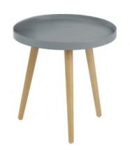 Malaga - Konferenčný stolík kruhový, drevené nohy (sivá, drevo)