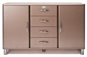 Malibu - Komoda (bronzová, 2x dvere, 4x zásuvka)