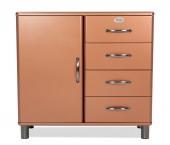 Malibu - Komoda (medená, 1x dvere, 4x zásuvka)