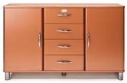 Malibu - Komoda (medená, 2x dvere, 4x zásuvka)