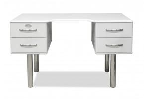 Malibu - Písací stôl (biela, 4x zásuvka)
